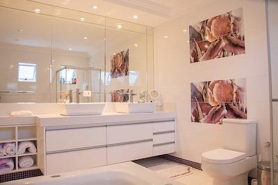 Décoration de salle de bain avec armoires de salle de bain